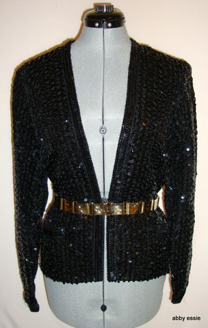 VINTAGE PARTIQUE NEW YORK BLACK SATIN SEQUIN RUCHE COCKTAIL FORMAL JACKET LARGE
