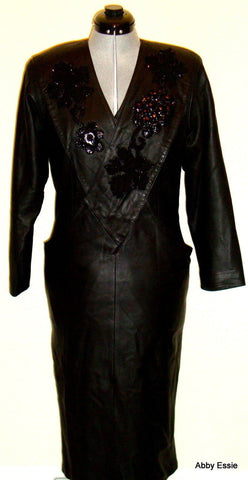 Vintage DIANE'S FUR & FASHIONS  BLACK LEATHER DRESS SUEDE SEQUIN  36 US