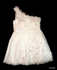 White Silky Pleated One Shoulder Rhinestone Flower Applique Chiffon Dress