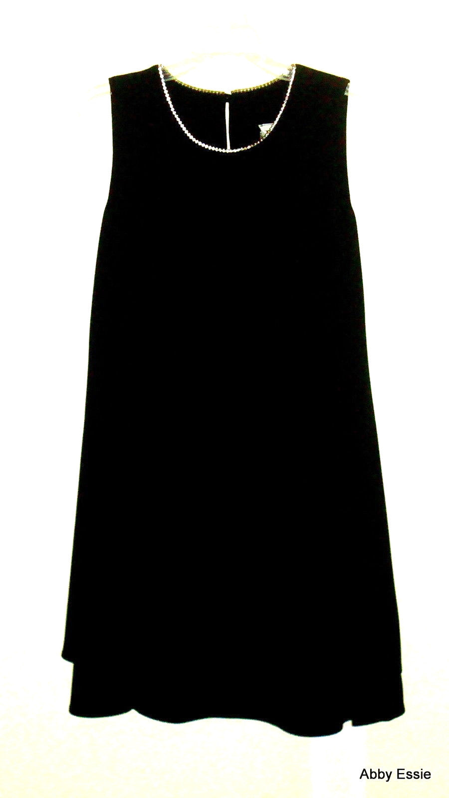 VINTAGE IANELLA BLACK CREPE RHINESTONE COLLAR MOD SLEEVELESS LAYERED FLUTTER DRESS