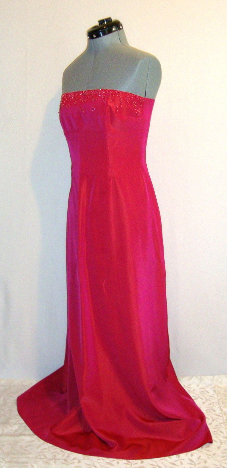 LAUNDRY BEADED PINK FUSCHIA IRRIDESCENT SATIN BUSTIER GOWN DRESS MEDIUM 8