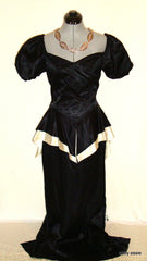Vintage Black White Silk Satin Peplum Victorian Goth Vtg 12 Medium