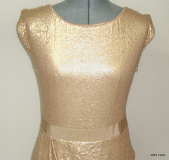 NWT LAUNDRY SHELLI SEGAL CREAM NUDE SEQUIN STRETCH COCKTAIL FORMAL 4 SMALL $285