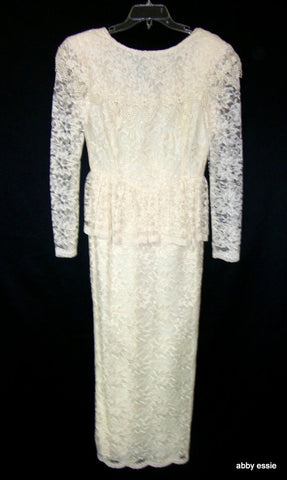 VINTAGE new CREAM WHITE PEPLUM GREAT GATSBY GAME OF THRONES DRESS GOWN 14 LARGE