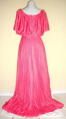 VTG 70s SALMON PINK TIE SHOULDER CREPE PLEATED SKIRT GOWN SMALL XS 2 4 6