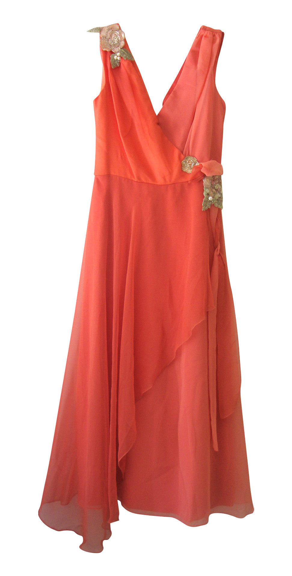 VINTAGE BIANCHI PINK PEACH SILVER SEQUIN GRECIAN LAYERED SILKY DRESS SMALL 2 4 LD-2708