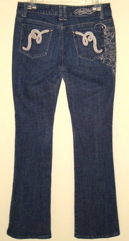 ROCA WEAR JEANS W/ EMBROIDERED POCKETS SKULLS DESIGN ON RIGHT SIDE JUNIORS 7