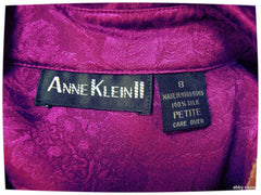 gorgeous VINTAGE ANN KLEIN II PETITES VIOLET PURPLE LACE EMBOSSED SILK BLOUSE 8