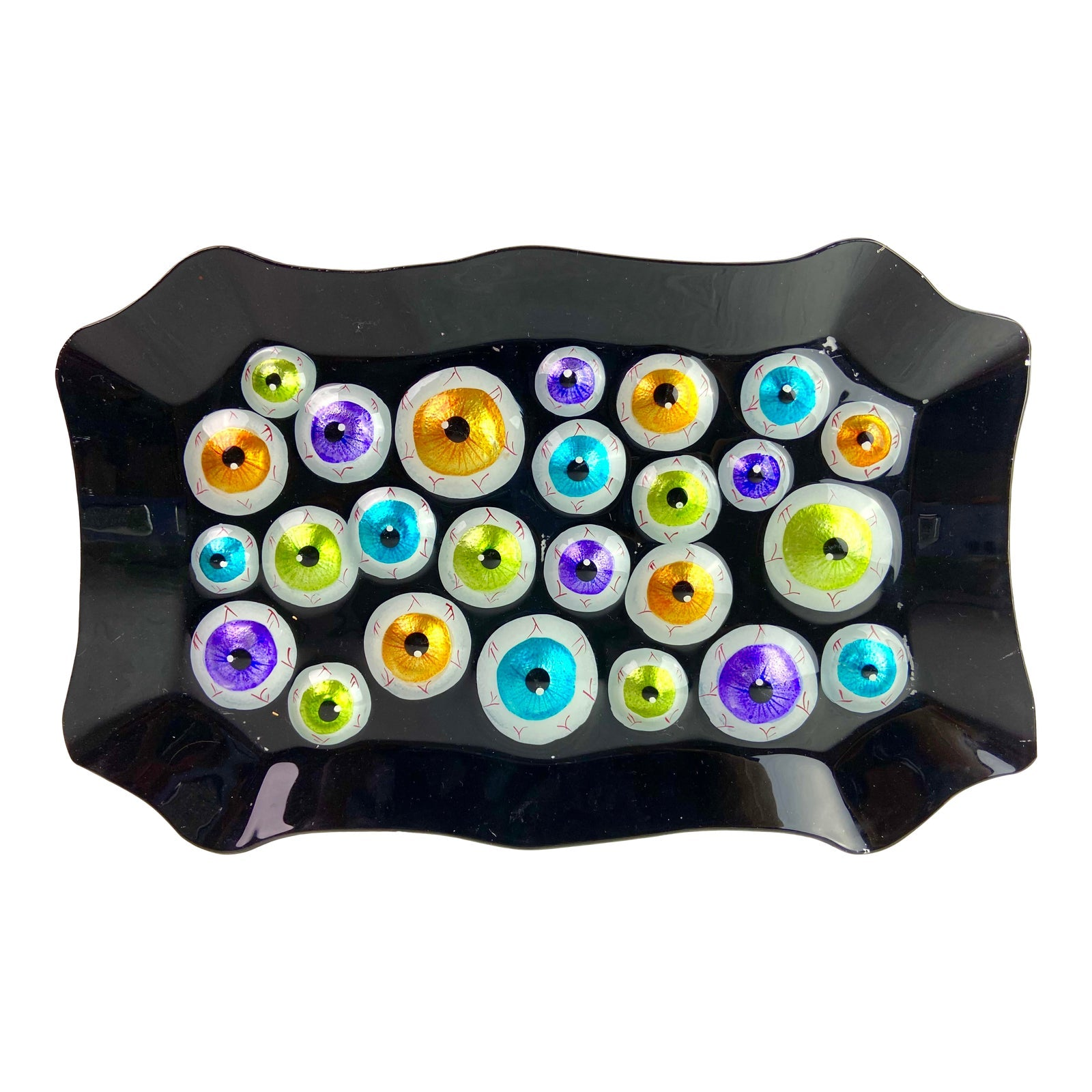 Modern Neon Black Party Tray Eyeball Halloween