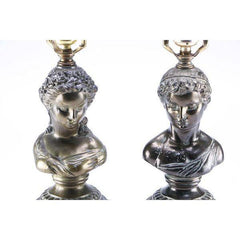 Neoclassical Bronze Lamps Italian Greek Figural Busts - A Pair