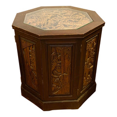 Ornate Asian Carved Wood Hexagon Cabinet Table 2 Wood hues