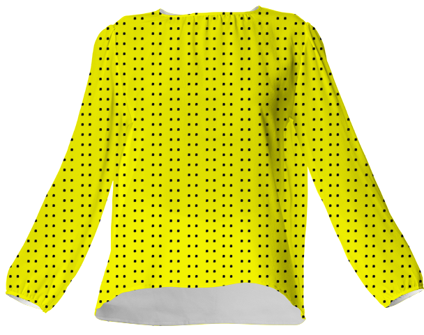 Suga Lane Yellow Black Polka Dot Silk Blouse