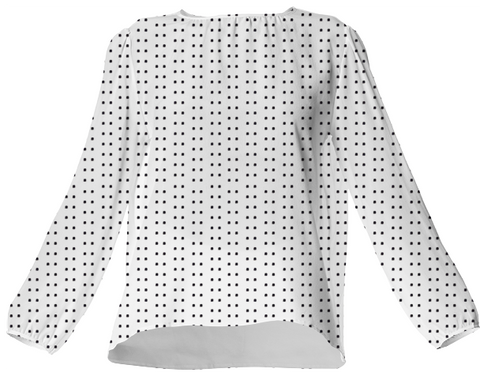 Suga Lane White Black Polka Dot Silk Blouse