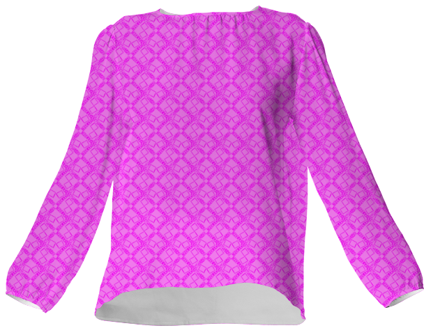 Suga Lane Hot Pink Logissimo Silk Blouse