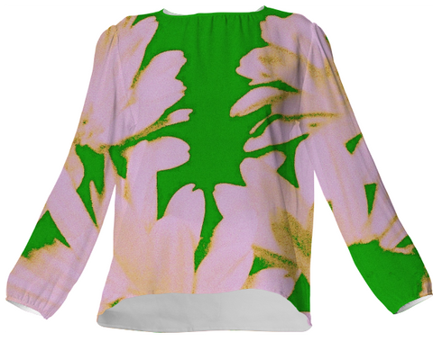 Suga Lane Retro Floral Green Buttermilk Silk Blouse
