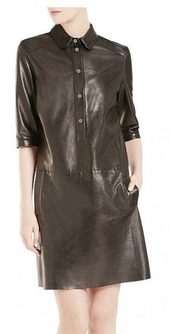 Suga Lane Leather Mid-Sleeve Shirt Dress - black