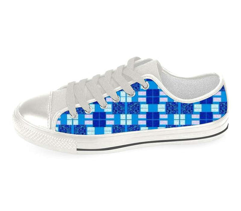 Suga Lane Blue Pink Plaid Low Top Sneakers