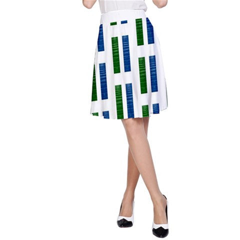womens blue & green retro panels A-line skirt