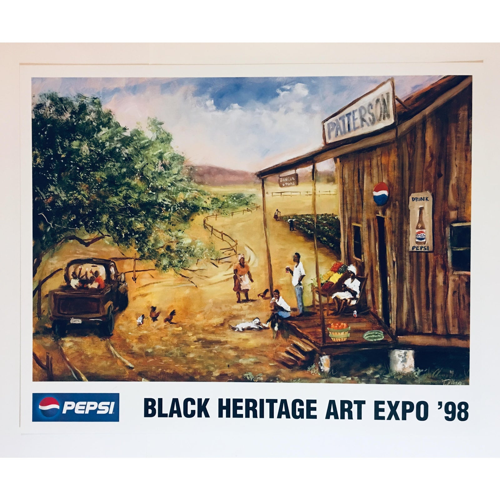 "T Ellis ""Patterson General Store"" Pepsi Theme Poster Print for the 1998 Black Heritage Art Expo"