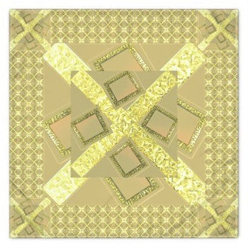 Suga Lane Tan Gold Logissimo Square Silk Scarf