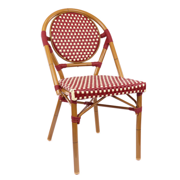 Design Lab MN LS-3001-REDCRM Aluminum Bamboo Red Patio Chair