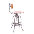 Design Lab MN LS-9199-NATGUN Toledo Natural Gunmetal Adjustable Bar Chair