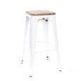 Design Lab MN LS-9100-WHTLW Dreux White Light Wood Barstool Set of 4