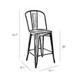 Design Lab MN LS-9112-GUNW Dreux Gunmetal/Dark Wood High Back Counter Chair Set of 4