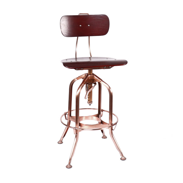 Design Lab MN LS-9199-RWACOP Toledo Walnut Vintage Copper Adjustable Bar Chair