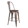 Design Lab MN LS-9112-RMTW Dreux Rustic Dark Wood High Back Counter Chair Set of 4