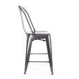 Design Lab MN LS-9111-DGUN Dreux Dark Gunmetal High Back Counter Chair Set of 4