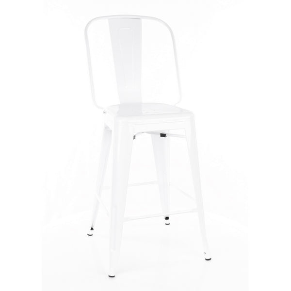 Design Lab MN LS-9112-WHT Dreux White High Back Counter Chair Set of 4