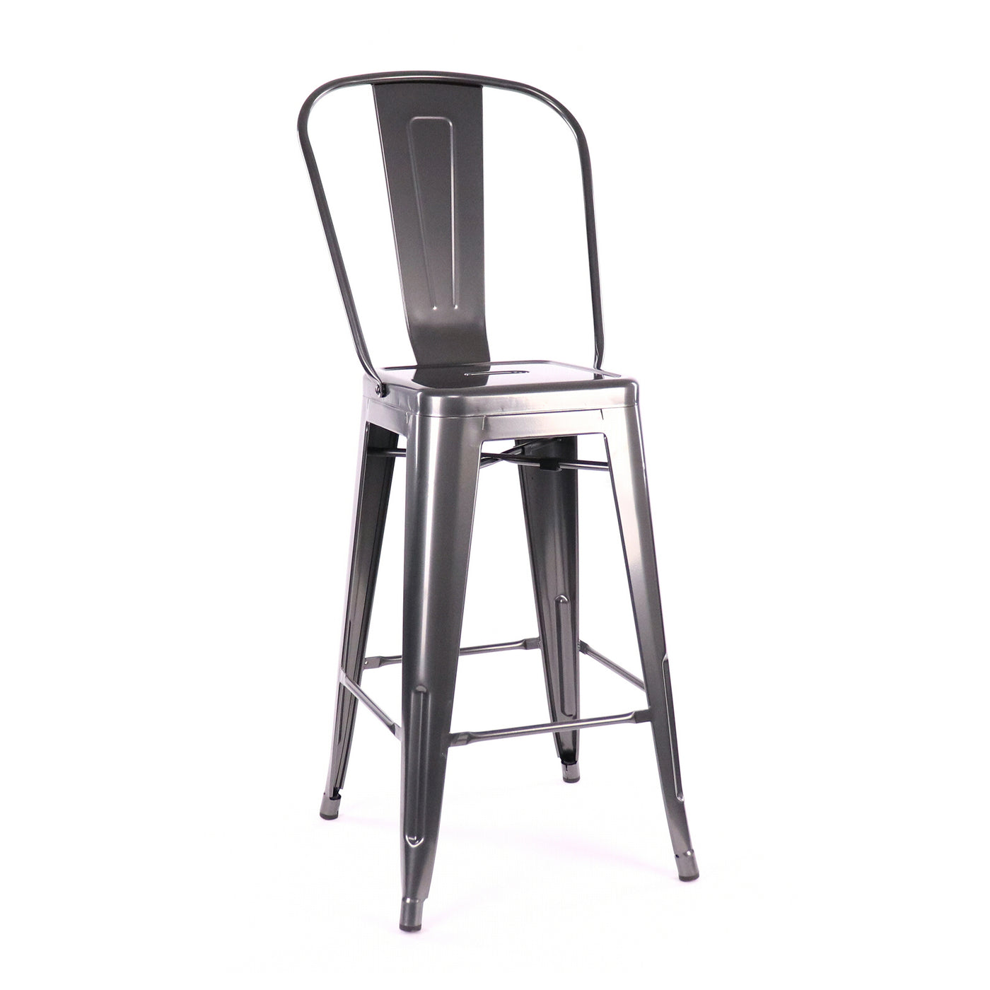 Design Lab MN LS-9102-DGUNHB Dreux Dark Gunmetal High Back Counter Stool Set of 4