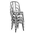 Design Lab MN LS-9000-BLKSLV Dreux Black/Silver Dining Chair Set of 4
