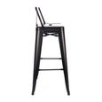 Design Lab MN LS-9100-MTBLKLB Dreux Matte Black Low Back Barstool Set of 4