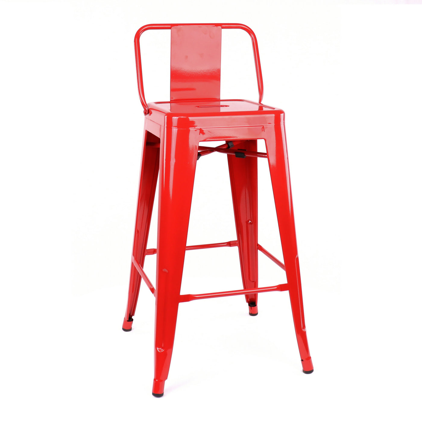 Design Lab MN LS-9102-REDLB Dreux Red Low Back Counter Stool Set of 4