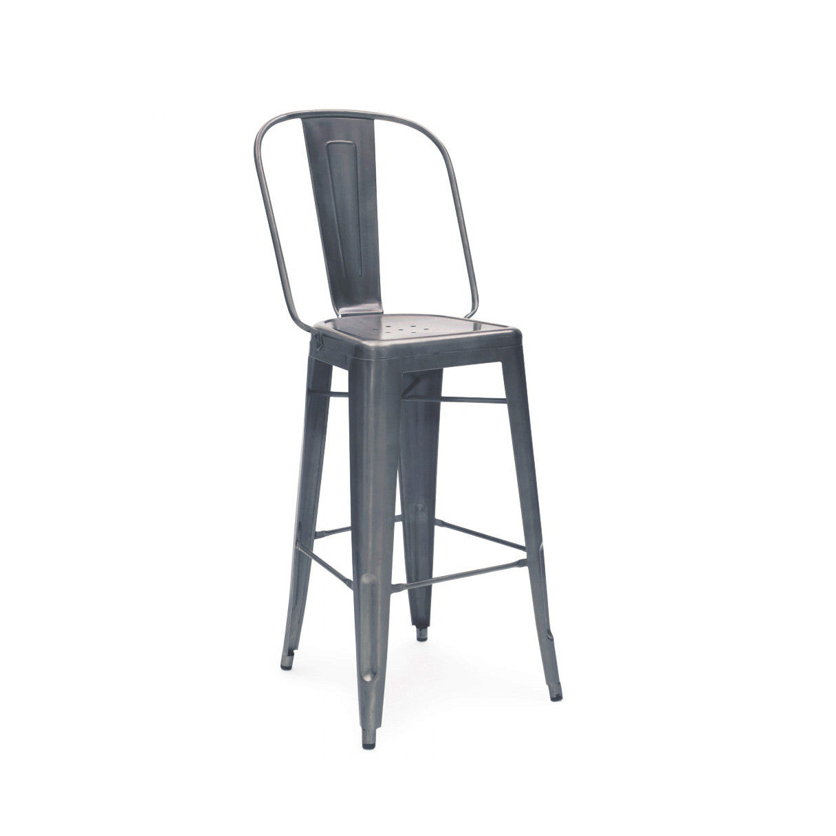 Design Lab MN LS-9101-DGUN Dreux Dark Gunmetal High Back Bar Chair Set of 4