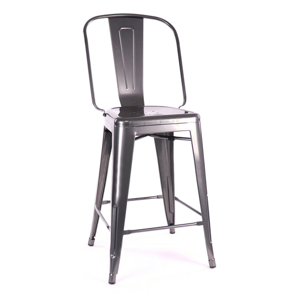 Design Lab MN LS-9112-DGUN Dreux Dark Gunmetal High Back Counter Chair Set of 4