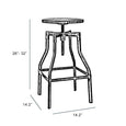 Design Lab MN LS-9203-WHTN Machinist White Light Wood Adjustable Barstool