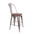 Design Lab MN LS-9111-GUNW Dreux Gunmetal Dark Wood High Back Counter Chair Set of 4