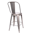 Design Lab MN LS-9112-GUN Dreux Gunmetal High Back Counter Chair Set of 4
