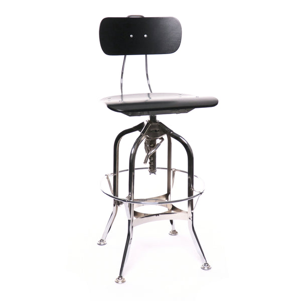 Design Lab MN LS-9199-BLKCRM Toledo Black Chrome Adjustable Bar Chair