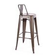 Design Lab MN LS-9100-RMTLB Dreux Rustic Low Back Barstool Set of 4