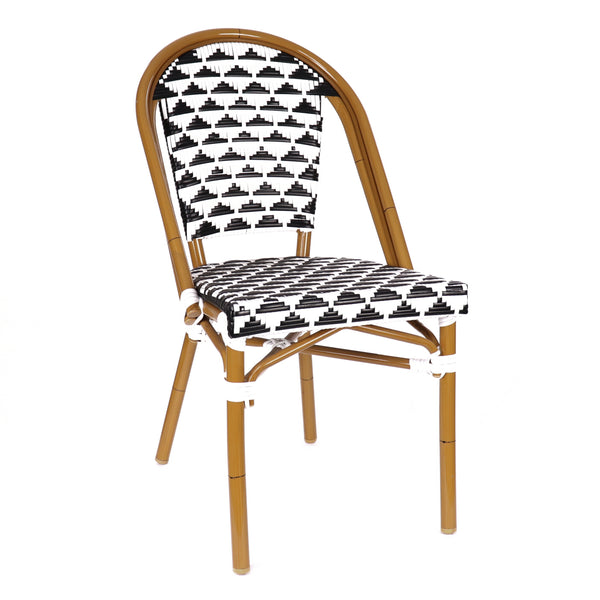Design Lab MN LS-3003-BLKWHT Aluminum Bamboo Black Patio Chair