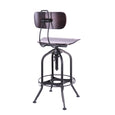 Design Lab MN LS-9199-WALBLK Toledo Walnut/Matte Black Adjustable Bar Chair