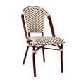 Design Lab MN LS-3004-CRMBLK Aluminum Bamboo Ivory Patio Chair