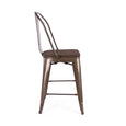 Design Lab MN LS-9111-RMTW Dreux Rustic/Dark Wood High Back Counter Chair Set of 4
