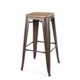 Design Lab MN LS-9100-RMTLW Dreux Rustic Light Wood Barstool Set of 4