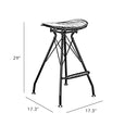 Design Lab MN LS-1007-BLKBLK Xavier Matte Black Barstool Set of 2