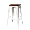 Design Lab MN LS-9102-WHTW Dreux White Dark Wood Counter Stool Set of 4